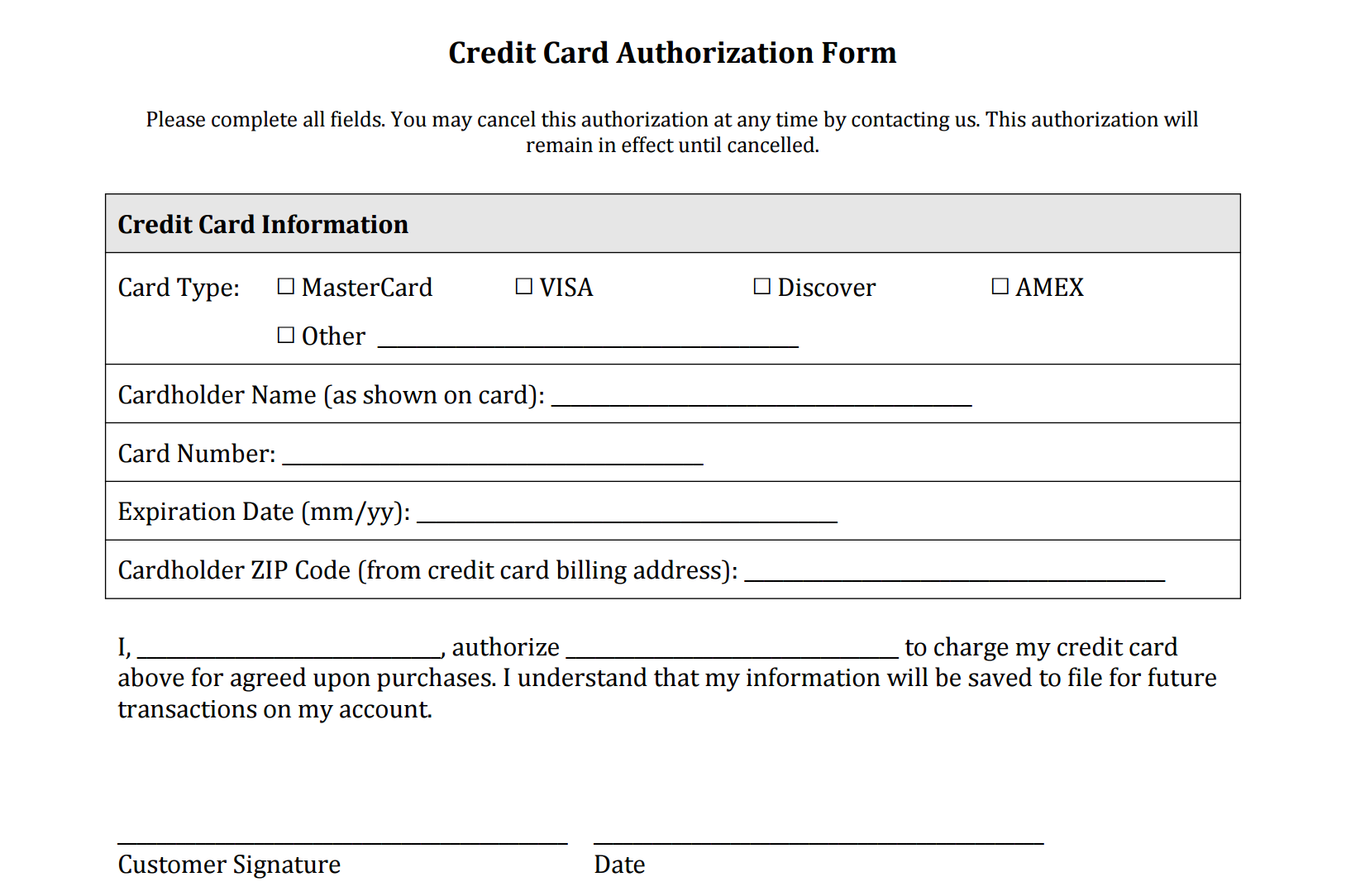 Credit Card Authorization Form Free Download