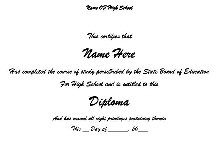 diploma template word