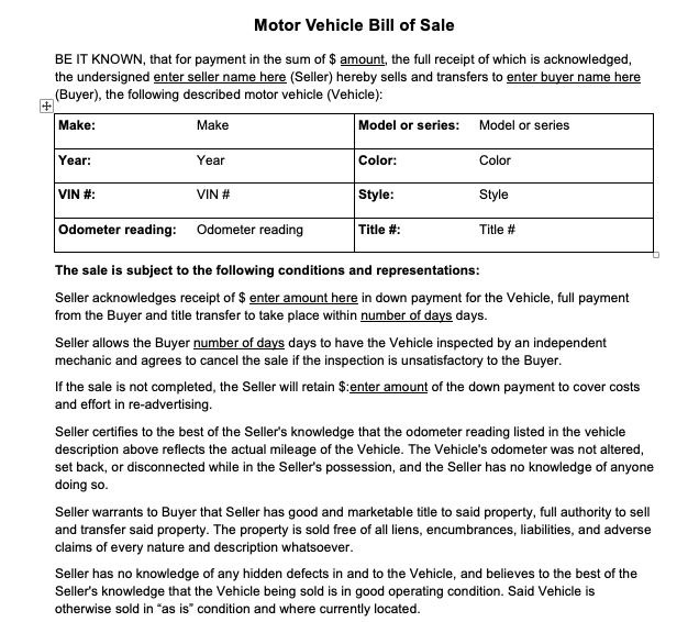 bill of sale form vehicle