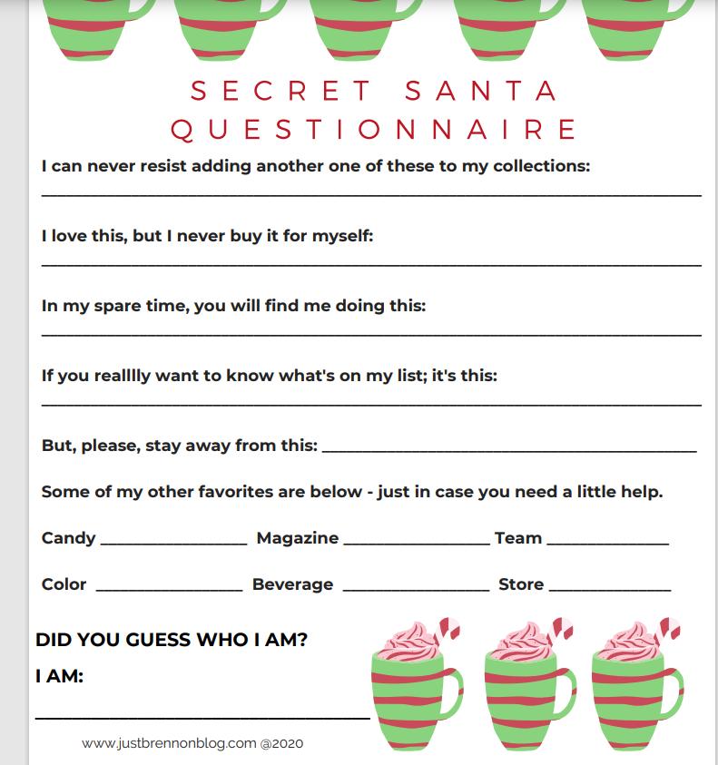 secret santa questionnaire word doc