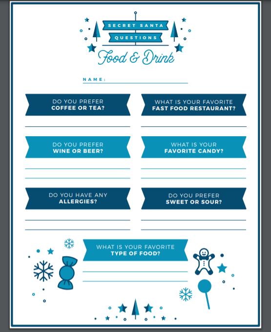 secret santa questionnaire for adults
