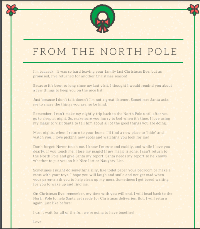 Returning Elf on The Shelf Letter