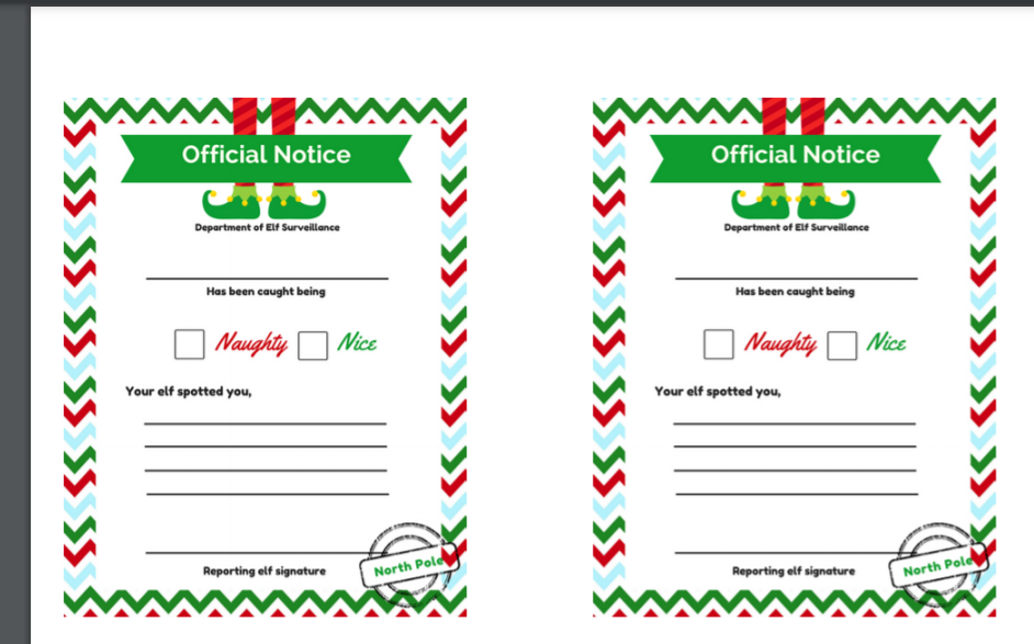 Elf on the Shelf Naughty or Nice Notice letter