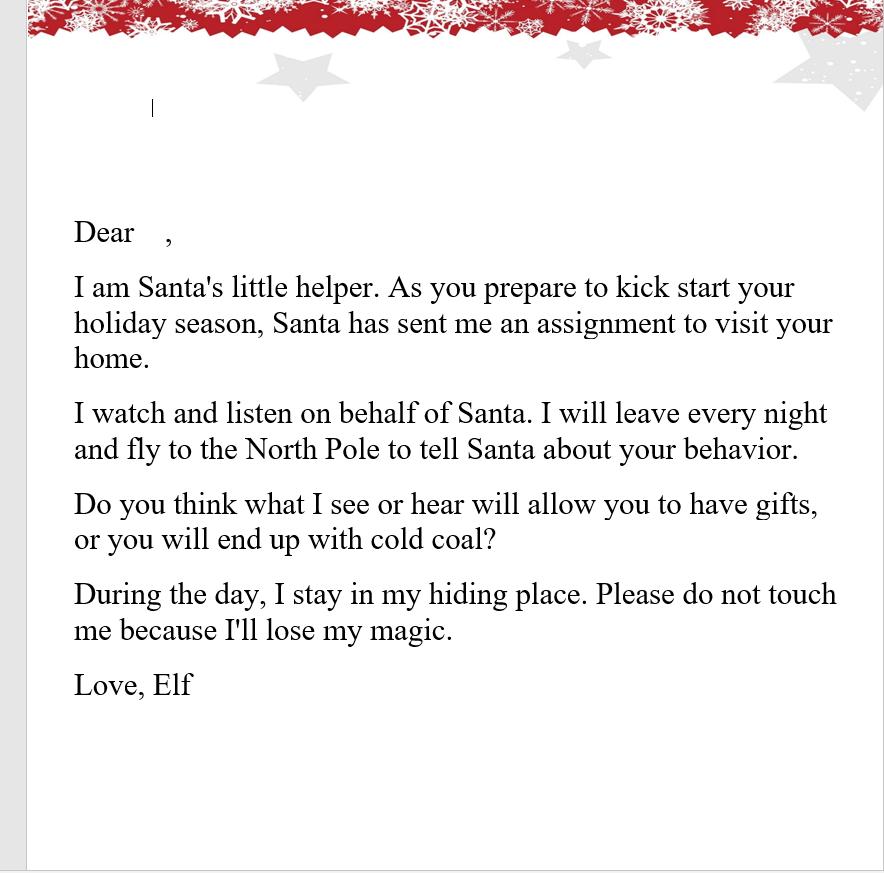 Elf on the Shelf Letter red border
