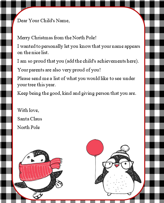 Cute Letter from Santa template