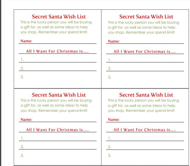 Secret Santa Wish List Form