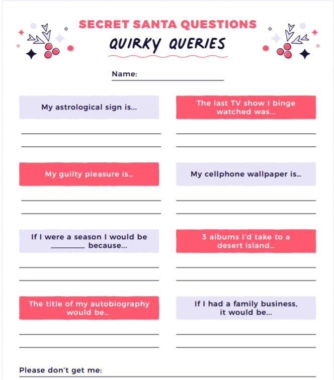Secret Santa Quirky Questions